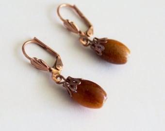 Dangle earrings, Copper earrings, Swarovski crystals dangel earrings, hook earrings, copper