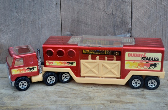 Buddy L Stables Horse Trailer Cab Over Truck Red Copper 1980's