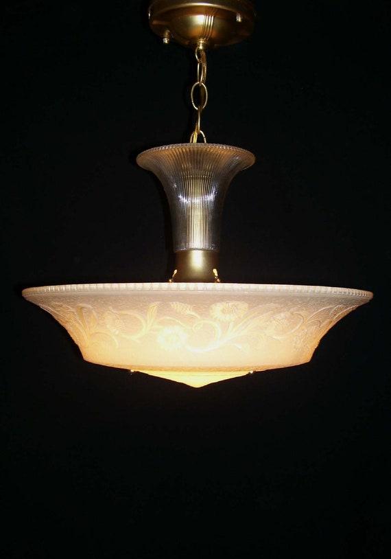 Vintage Victorian Art Deco  Chandelier  Ceiling Fixture Light