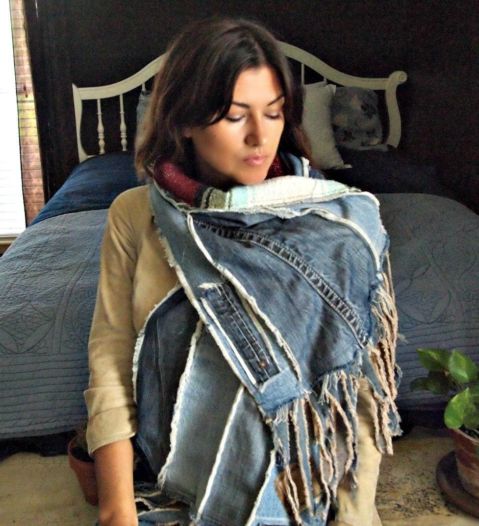 Scarf Shawl Fringe Rustic Denim Patchwork Wrap Woven Mexican
