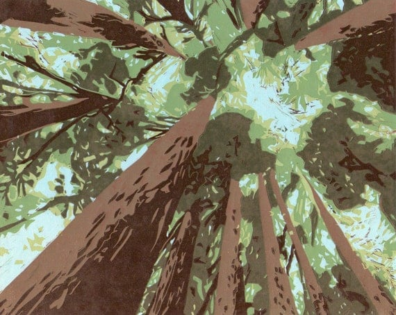 Looking Up into Redwoods-Hand Pulled, Limited Edition