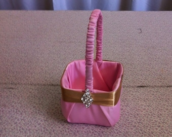 Pink Flower Girl Basket with Gold Satin Accent