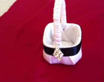 Extra small  Flower Girl Basket made especially for small child White with Navy Blue Accent