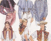 McC Old West Brand McCalls 6935 western shirt with detachable cape uncut sewing pattern multi sized 12 14 16