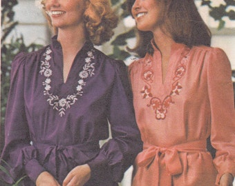 Butterick 4508 Size 14 bust 36 folk blouse uncut sewing pattern with embroidery transfers