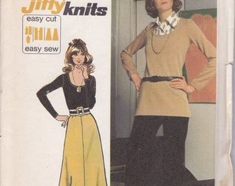 Jiffy Knits Size 16 Bust 38 Simplicity 5306 uncut sewing pattern long skirt pants top from 1972