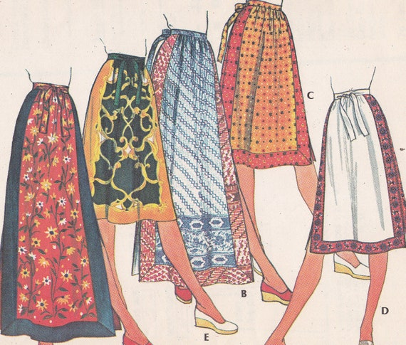 McCalls set of skirts sewing pattern 5108 Size 16 Waist 30 from 1976 extended ties border prints apron style