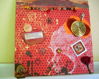 """Mixed Media Collage, """"Burnt Offerings"""" with Vintage Binder Clip on 12 X 12 Stretched Canvas, Free Shipping USA"""