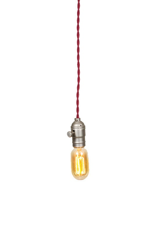Bare Bulb Minimalist Brushed Silver Socket Colored Wire Pendant ( Wine )