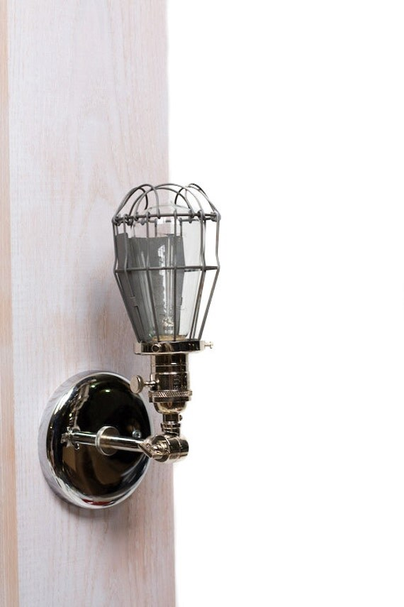 Caged Edison Adjustable Wall Sconce All Chrome