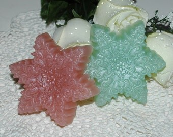 Snowflake Soap - Snowflake Glycerin Soap in Green and Rose - Handmade Christmas Soap - Snowflake Soap for Winter - Vegan Friendly