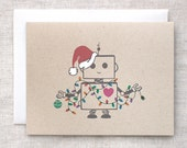 Unique Christmas Card Set of 10 Handmade - Hand Painted Robot Funny Holiday Cards, Custom Christmas Cards, Brown Recycled Cards