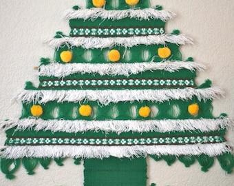 SALE - Vintage Christmas Tree Fiber Art