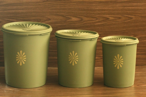 Tupperware Avocado Green Canisters