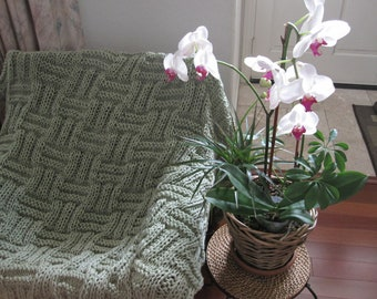 Ready-Made Knit Afghan---TEA TIME in Frosty Green