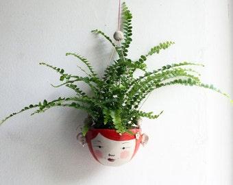 Ceramic mini hanging planter-Wren- Bright orange tangerine hair miniature plant pot
