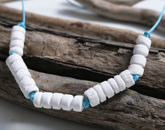 Womens necklace-Ceramic bead necklace-5 grooved porcelain beads