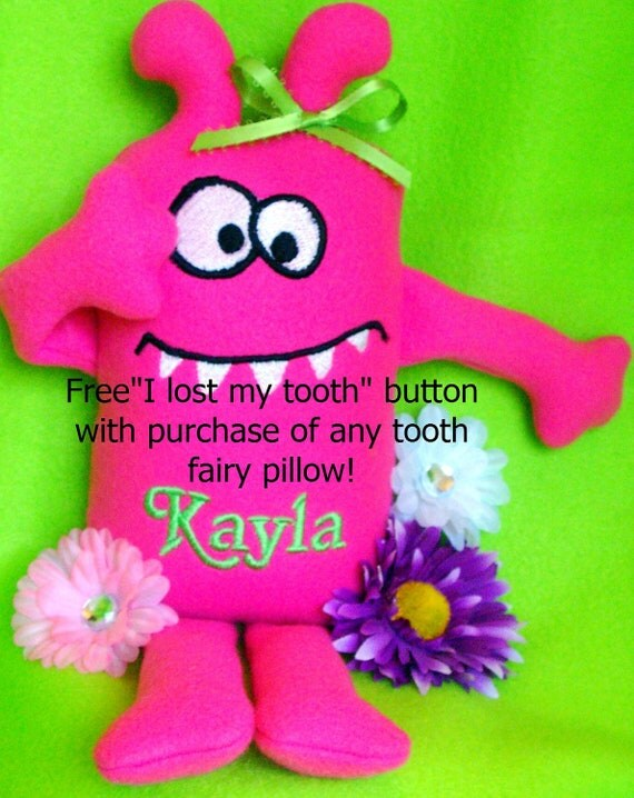 Tooth Fairy pillow for Girls, fun Monster Tooth Fairy Pillow