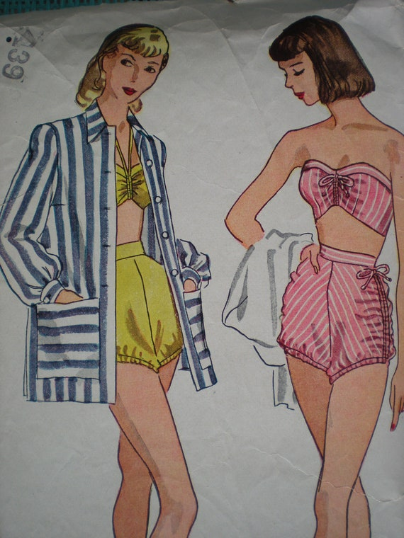 1940s Beach Blanket Bombshell, Stunning 1947 Simplicity Swim Suit Pattern 1965, Size 15 Bust 33