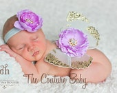 LAVENDER MINT Sequin Vintage Butterfly Wing & Headband Set Newborn Photo Prop