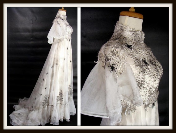 OOAK Vintage Corpse Bride Wedding Dress Gown With SPIDERS