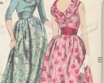 Vintage 1950s Vogue Evening, cocktail dress with cummerbund pattern 9895 Bust 36