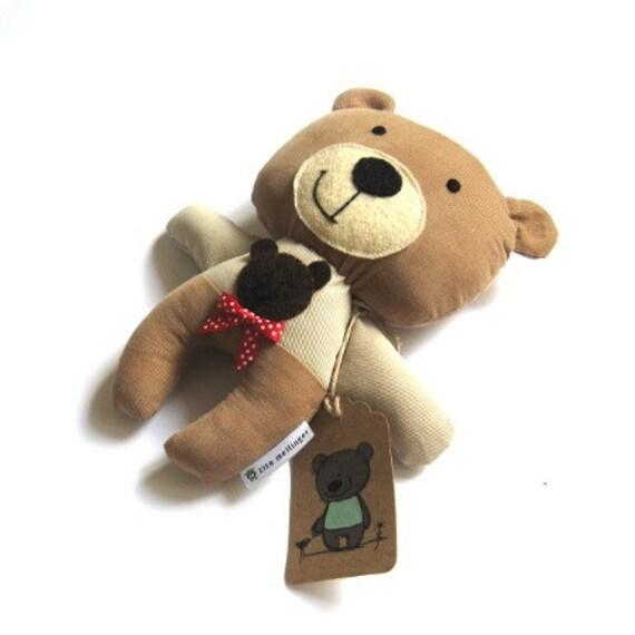 """Teddy bear plushie rag doll toy stuffed animal handmade brown beige plush soft softie child safe blue car 25 cm 9.8"""""""