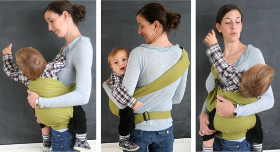 PeaPod Baby Carrier in GREEN AND BROWN