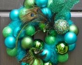 Christmas wreath, holiday wreath, peacock, front door decoration