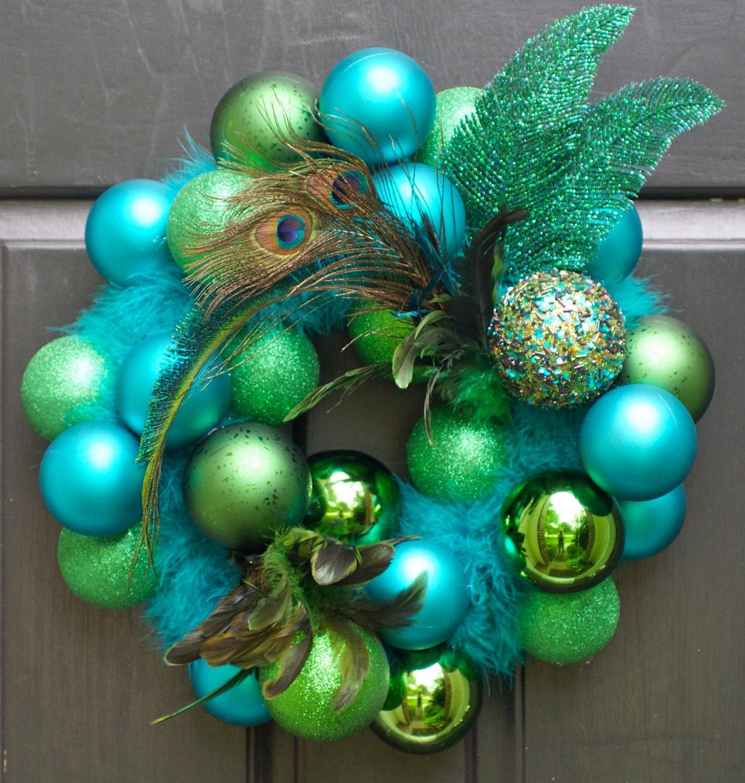 Christmas Wreath Holiday Wreath Peacock Front Door