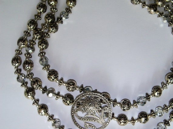 Necklace Grey Silver 3 Strands Beads Restyled Assemblage Sterling Focal Clear AB Crystals Bride Wedding Holiday Special Occasion Gift