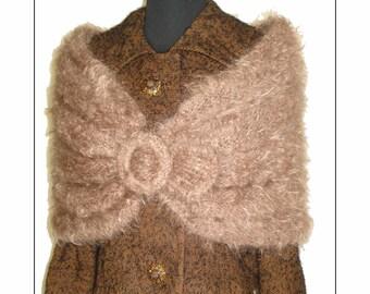 Vintage Mohair Stole Shrug Femme Fatale Couture Mad Man Pinup Garden Party Rockabilly Dress Coat Wrap Jacket Scarf