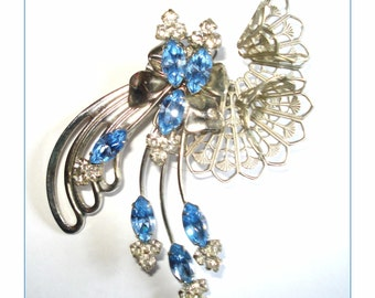 Vintage Brooch Pin Blue Clear Rhinestone Dress Garden Party Mad Men Rockabilly Retro Designer Jacket Dress Gown Suit Coat