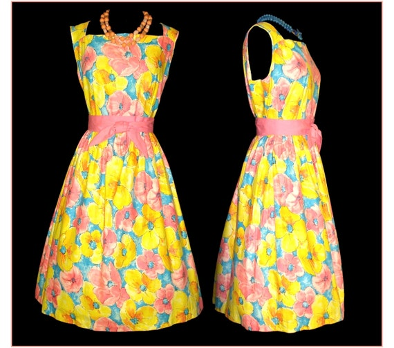 Vintage 1950s Dress NOS Garden Party Plus Size Floral Novelty Print Femme Fatale Mad Men Pinup Rockabilly Bombshell Full Circle Sex Kitten