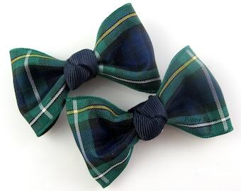 "Plaid Hair Clips - Pair Matching 2.5"" Bows Navy Blue Dark Green Tartan - Baby Toddler Girl Back to School Uniform Campbell AP"