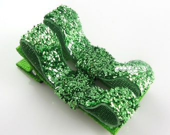 Green Glitter Hair Clips - Toddler Hair Clips - Baby Hair Clips - No Slip Grip for Fine Hair Tuxedo Bow