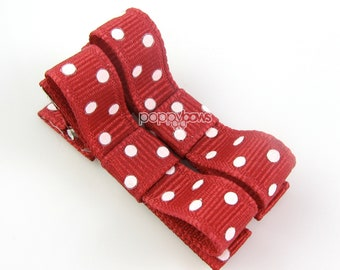 Polka Dot Baby Hair Clips Rich Red Cranberry - Set of 2 - Matching Pair Alligator Barrettes for Babies Toddlers Girls Polka Dot Tuxedo Bow