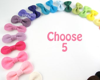 Wool Felt Hair Bows for Babies - 5 Pack Handmade Wool Felt Baby Hair Clips - Mini Snap Clips with Non Slip for Fine Hair - Color Choices mpf