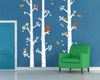 Nursery Room Decor Kids Wall Decal Children Wall Decors Owls Decal Trees Wall Decal-Birch Trees and Owl-Designed by Popdecors
