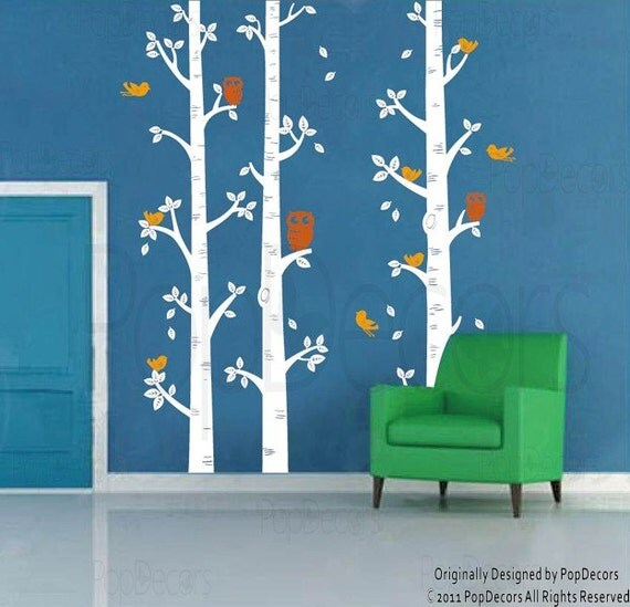 Items similar to nursery room decor kids wall decal for Bird and owl tree wall mural set