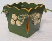 Handmade Decorated Green Gold Vintage Lined Wood Flower Plant Holder Pot - JAShirraPatterns