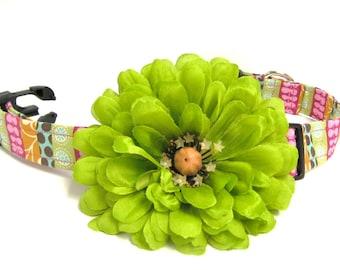 Dog Collar Flower, Green Flower, Detachable Flower