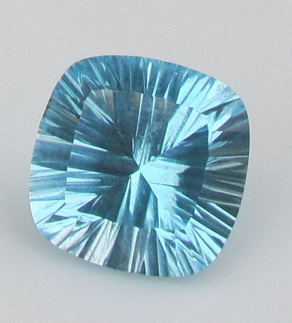 Blue Topaz Cushion Concave Cut November Birthstone Loose