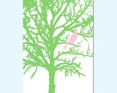SALE - Bird in a Tree - 11x17 Nursery Art Print - Spring Green and PInk