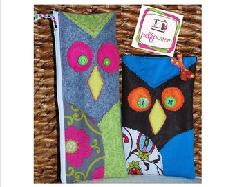 pdf Owl Pencil Case Sewing Pattern - 2 sizes!  INSTANT DOWNLOAD!!!