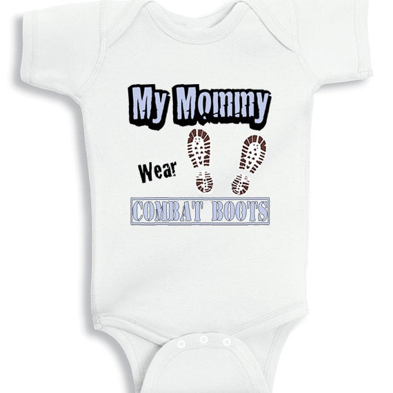 my mommy wear combat boots personalized baby bodysuit or