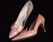 Pink Vintage Stilletos, Bow and Pump, 60s, size 7