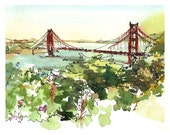 San Francisco Golden Gate Bridge California watercolor sketch  8x10 prints form an original sketch