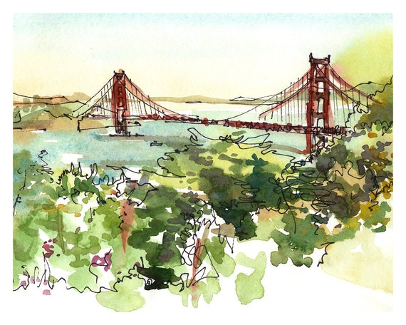 San Francisco Golden Gate Bridge California watercolor sketch  8x10 prints form an original sketch