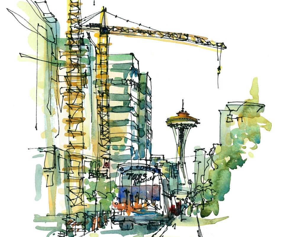 Seattle Skyline Drawing Seattle Skyline Print From